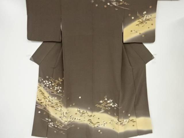 【IDN】 手描き友禅流水に松竹梅・紅葉模様刺繍一つ紋訪問着【リサイクル】【中古】【着】