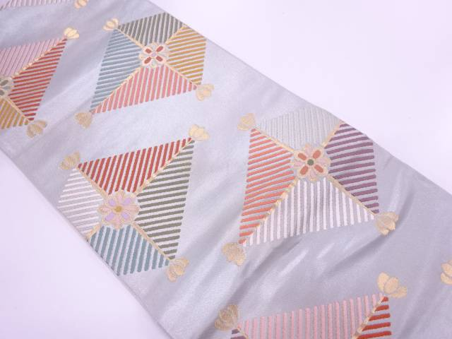 【IDN】 未使用品 菱に若松・花模様織出し袋帯【リサイクル】【着】