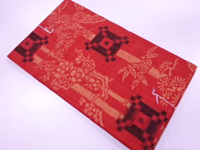 【IDN】 未使用品 手織り紬松竹梅模様織出し袋帯【リサイクル】【着】