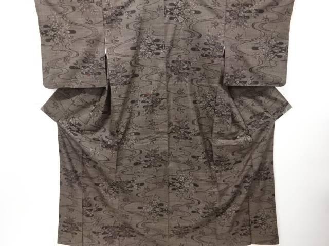 【IDN】 流水に草花模様織り出し本場泥大島紬着物(5マルキ)【リサイクル】【中古】【着】