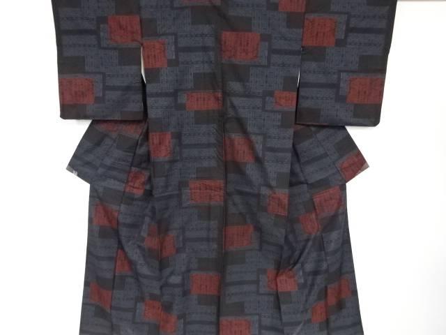 【IDN】 色紙に幾何学模様織り出し本場泥大島紬着物アンサンブル(5マルキ)【リサイクル】【中古】【着】