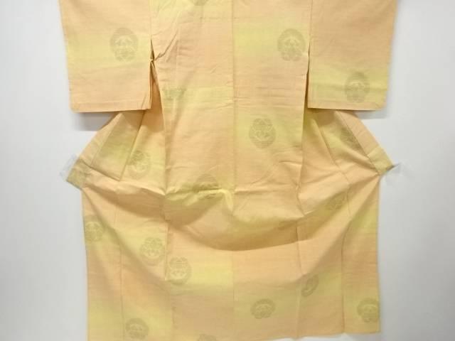 【IDN】 抽象模様織り出し本真綿結城紬80亀甲単衣着物【リサイクル】【中古】【着】