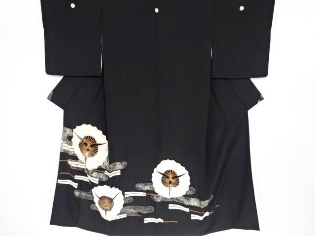 【IDN】 金彩友禅三つ扇模様刺繍留袖(比翼付き)【リサイクル】【中古】【着】