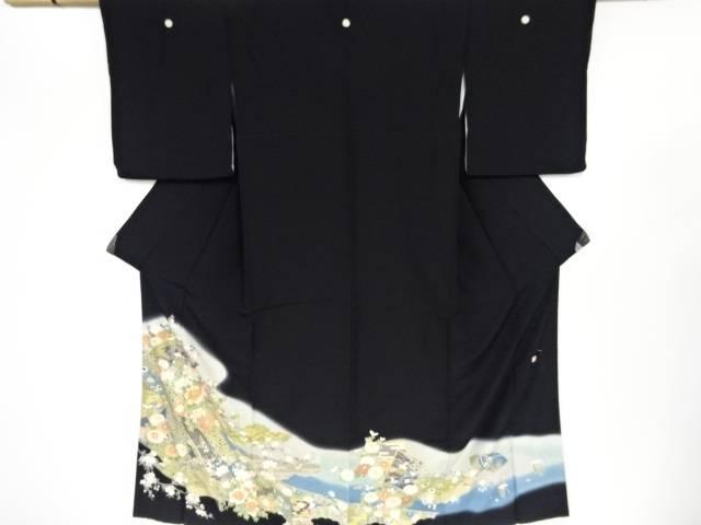 【IDN】 作家物 古典柄に地紙・桜・菊・牡丹模様刺繍留袖(比翼付き)【リサイクル】【中古】【着】