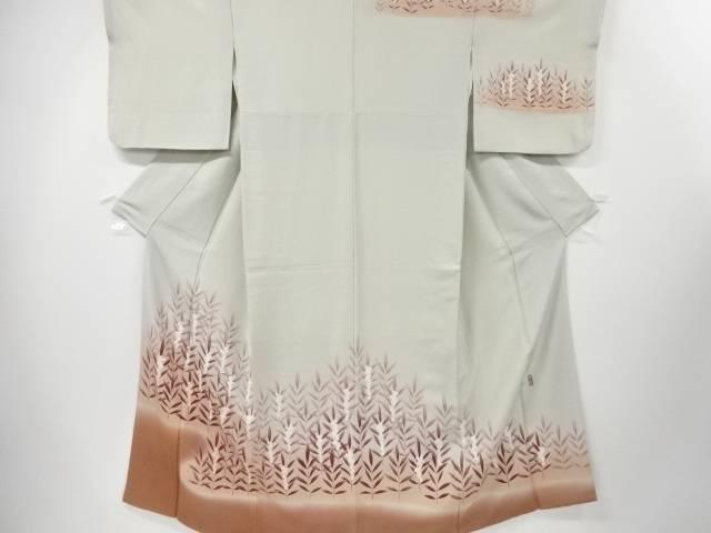 【IDN】 作家物 手描き友禅草の実模様刺繍一つ紋訪問着(重ね衿付き)【リサイクル】【中古】【着】