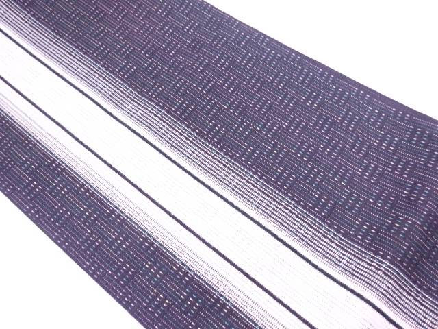【IDN】 未使用品 紙布さしこ縞模様織出し全通袋帯【リサイクル】【着】