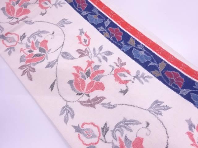 【IDN】 手織り紬縞に花唐草模様織出し名古屋帯【リサイクル】【中古】【着】