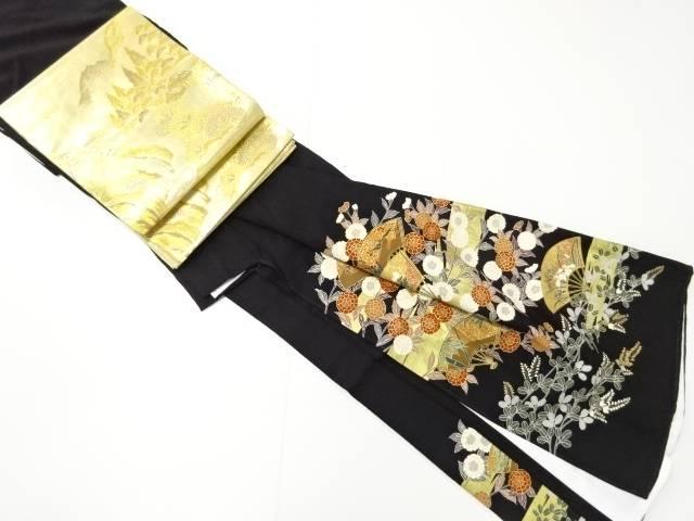 【IDN】 金彩霞に花扇模様留袖(比翼付き) 袋帯セット【リサイクル】【中古】【着】