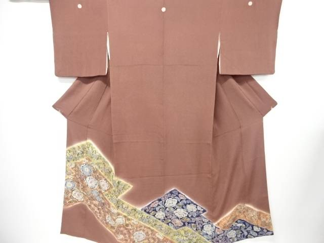 【IDN】 縮緬地辻ヶ花五つ紋色留袖(比翼付き)【リサイクル】【中古】【着】
