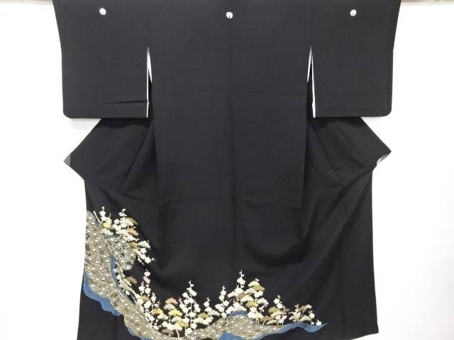 【IDN】 相良刺繍松・梅模様留袖(比翼付き)【リサイクル】【中古】【着】