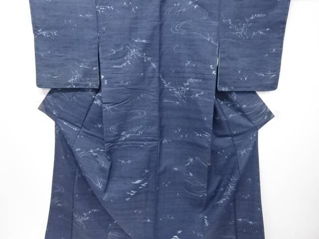 【IDN】 草葉模様手織り真綿紬着物【リサイクル】【中古】【着】