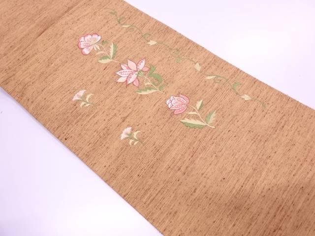【IDN】 未使用品 手織り紬花唐草模様刺繍名古屋帯【リサイクル】【着】