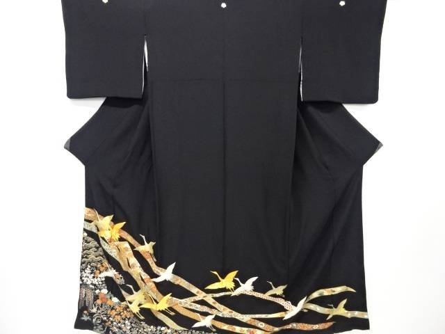 【IDN】 群鶴に草花模様刺繍留袖(比翼付き)【リサイクル】【中古】【着】
