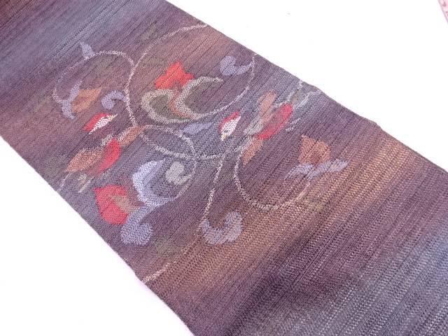 【IDN】 花唐草に鳥模様織出し袋帯【リサイクル】【中古】【着】