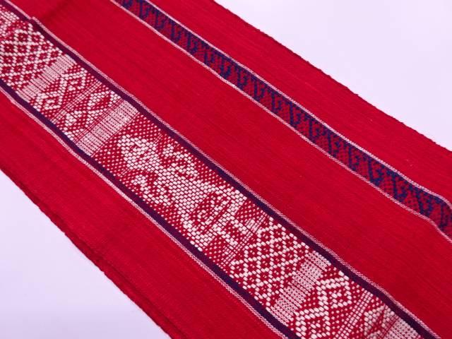 【IDN】 未使用品 手織り真綿紬縞に抽象模様織出し名古屋帯【リサイクル】【着】