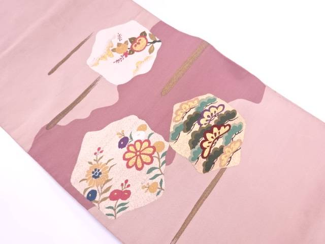 【IDN】 本綴れ松に橘・草花模様織出し袋帯(着用可)【アンティーク】【中古】【着】