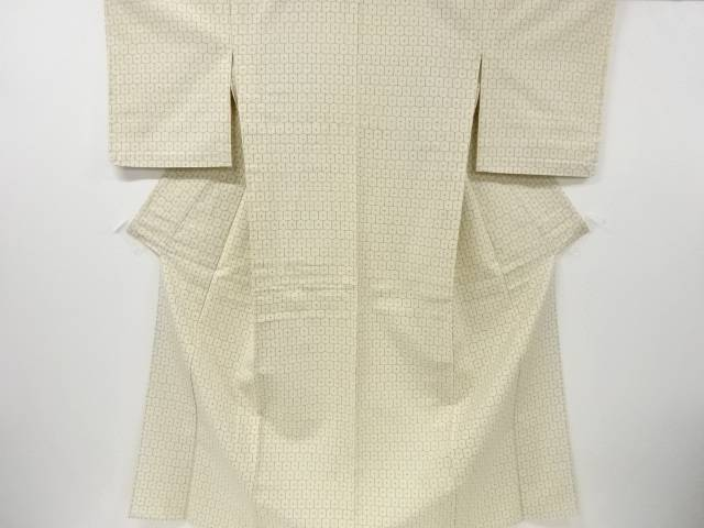 【IDN】 未使用品 亀甲繋ぎ模様織出手織り紬単衣着物【リサイクル】【着】