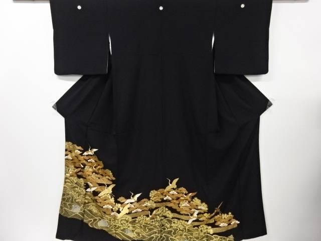 【IDN】 金彩松に群鶴模様刺繍留袖(比翼付き)【リサイクル】【中古】【着】