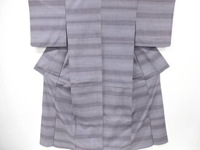 【IDN】 横段織り出し手織り紬単衣着物【リサイクル】【中古】【着】