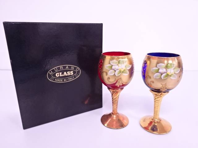 【IDN】 ムラノガラス 24KTハイエナメル ワイングラスペア【中古】【道】