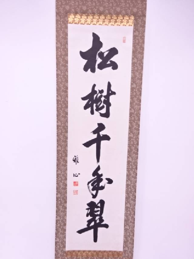 【IDN】 書画 雅心筆 松樹千年翠 肉筆紙本掛軸(共箱)【中古】【道】