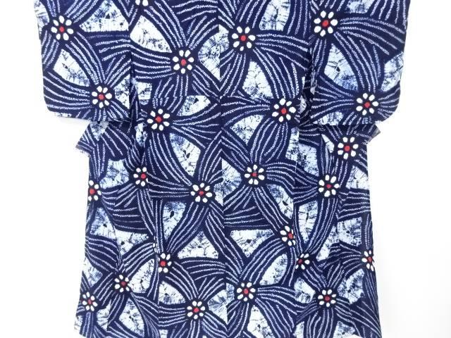 【IDN】 有松鳴海本絞り花に幾何学模様着物【リサイクル】【中古】【着】