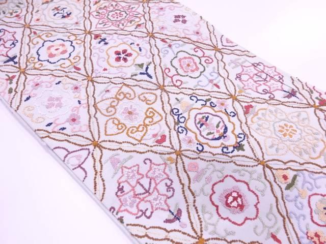 【IDN】 未使用品 B 相良刺繍襷に花唐草模様袋帯(未仕立て)【リサイクル】【着】