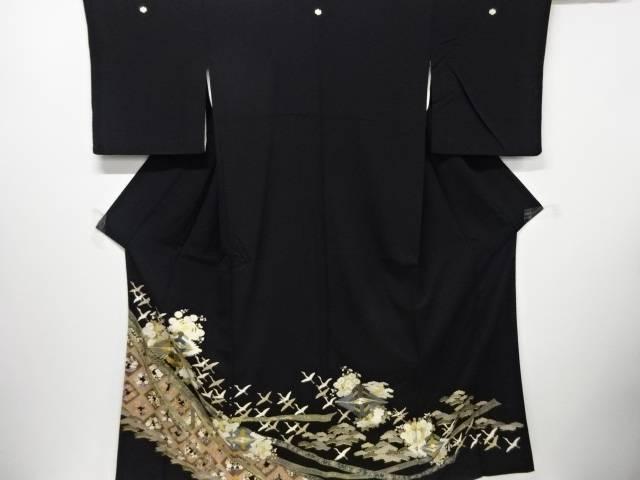 【IDN】 金彩友禅花丸紋に向かい鶴・菱模様刺繍留袖(比翼付き)【リサイクル】【中古】【着】