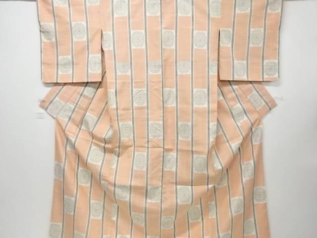 【IDN】 未使用品 仕立て上がり 縞に華紋織出手織り紬着物【着】