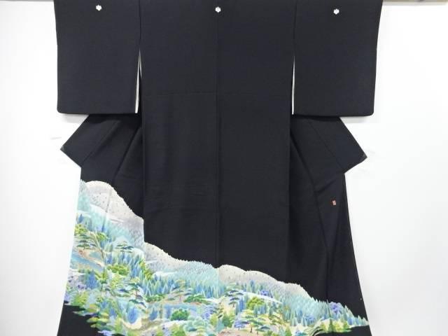 【IDN】 作家物 手描き友禅小川に遠山・樹木模様留袖(比翼付き)【リサイクル】【中古】【着】