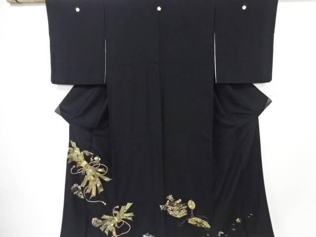 【IDN】 束ね熨斗に宝尽くし・花模様刺繍留袖(比翼付き)【リサイクル】【中古】【着】