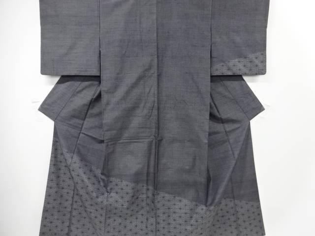 【IDN】 本マルキ泥染麻の葉模様織り出し手織り節紬訪問着【リサイクル】【中古】【着】