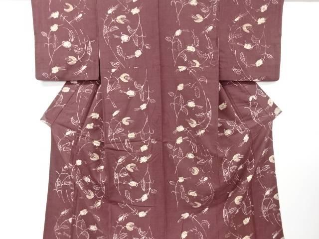 【IDN】 手描き抽象草花模様手織り真綿紬着物【リサイクル】【中古】【着】
