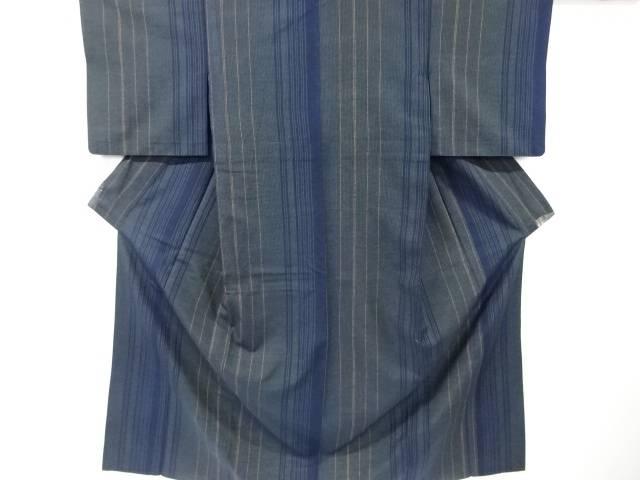 【IDN】 縞模様織り出し単衣手織り真綿紬着物【リサイクル】【中古】【着】