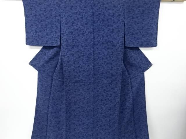 【IDN】 縮緬地本藍型染流水に菊・笹・梅模様単衣小紋着物【リサイクル】【中古】【着】