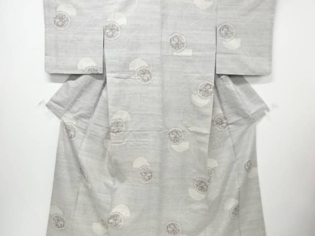 【IDN】 鏡裏に花模様織り出し手織り真綿紬着物【リサイクル】【中古】【着】