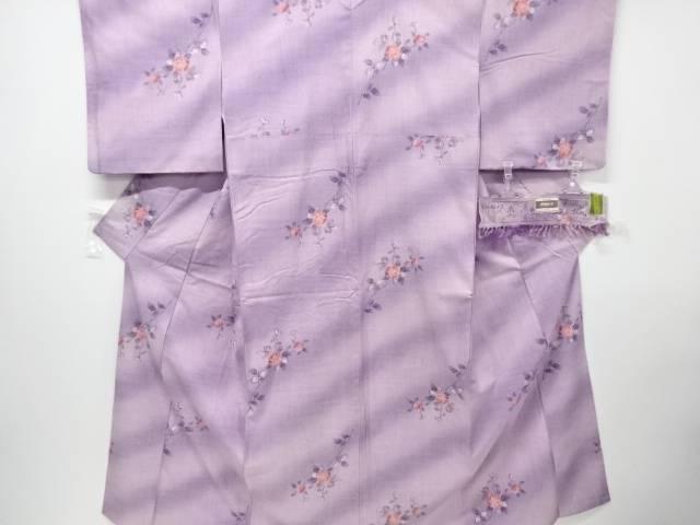 【IDN】 花模様織り出し手織り真綿小千谷紬着物【リサイクル】【中古】【着】