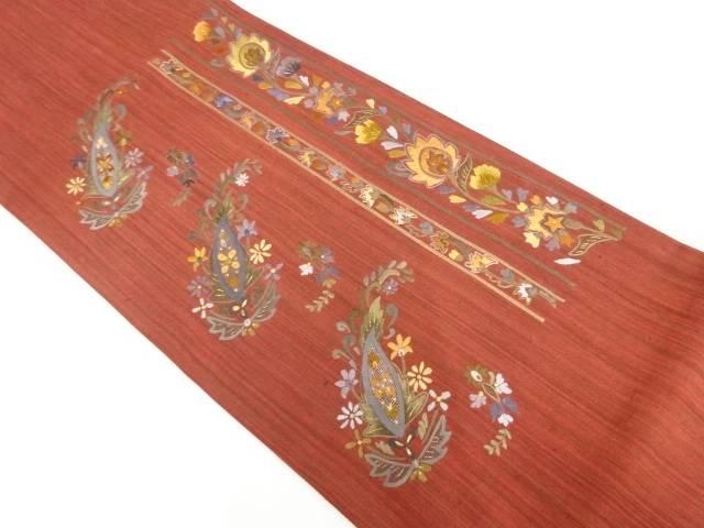 【IDnet】 未使用品 手織り縦節紬ペイズリーに花模様刺繍袋帯【リサイクル】【着】