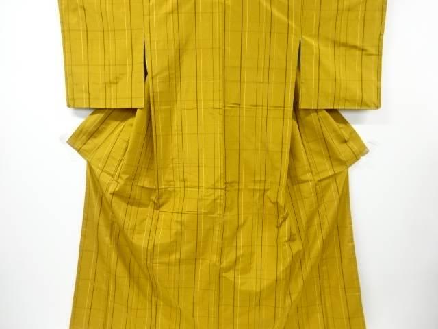 【IDnet】 未使用品 仕立て上がり 格子織り出し米沢紬着物アンサンブル【着】