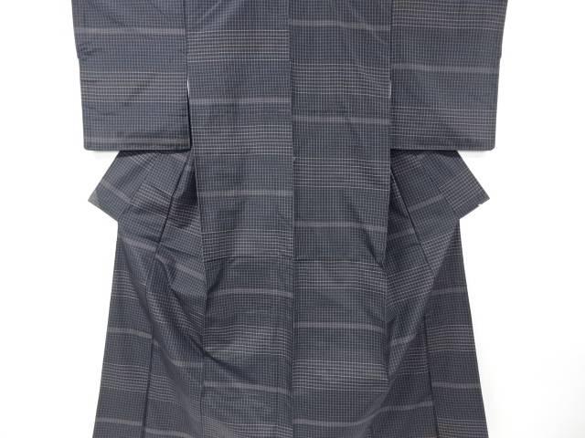 【IDnet】 格子に横段織出米沢紬着物・道行コートアンサンブル長襦袢セット【リサイクル】【中古】【着】