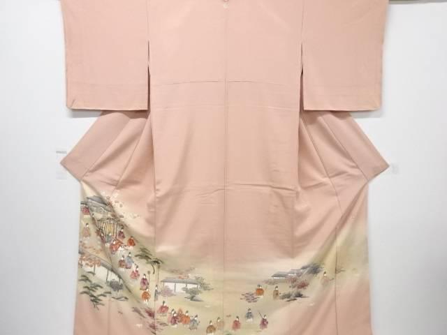 【IDnet】 未使用品 仕立て上がり 作家物 寿光織手描き時代風景に牛車模様一つ紋色留袖【着】