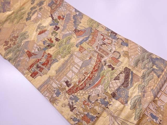 【IDnet】 山鉾に時代人物風景模様織出し袋帯【リサイクル】【中古】【着】