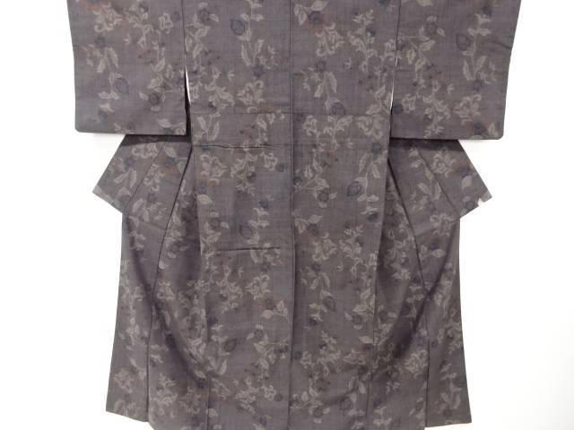 【IDnet】 唐花模様織り出し手織り真綿紬着物【リサイクル】【中古】【着】