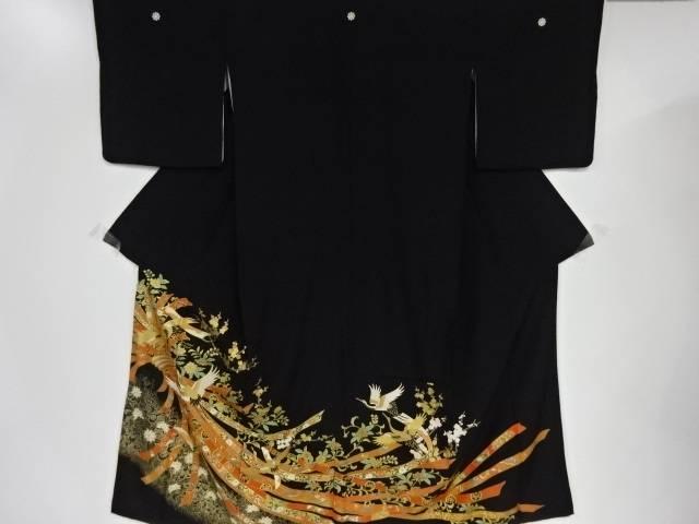 【IDnet】 金彩束ね熨斗に花古典柄・鶴模様刺繍留袖(比翼付き)【リサイクル】【中古】【着】