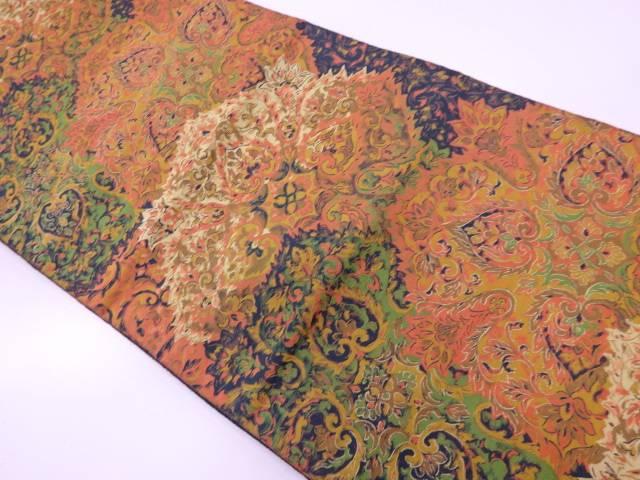 【IDnet】 萬葉製 抽象華紋模様織出し袋帯【リサイクル】【中古】【着】