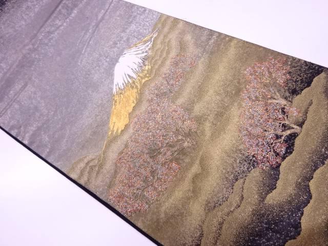 【IDnet】 じゅらく製 霞に樹木・山模様織出し袋帯【リサイクル】【中古】【着】