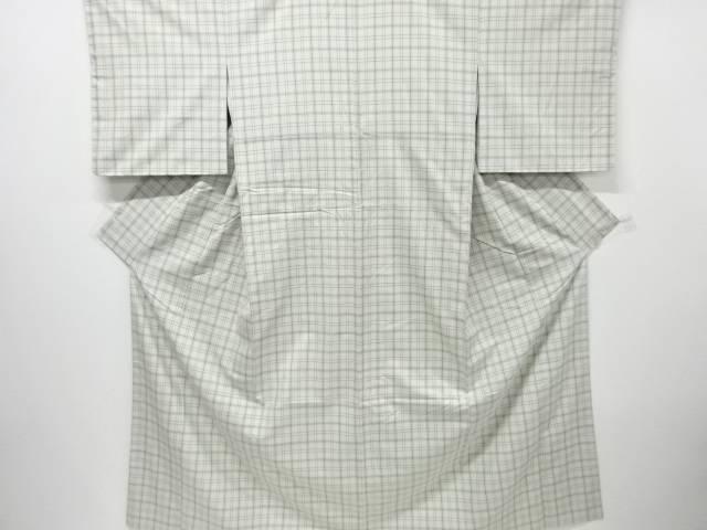 【IDnet】 格子織り出し手織り紬着物【リサイクル】【中古】【着】