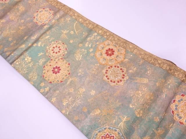 【IDnet】 青銅箔華紋に花鳥模様織出し袋帯【リサイクル】【中古】【着】
