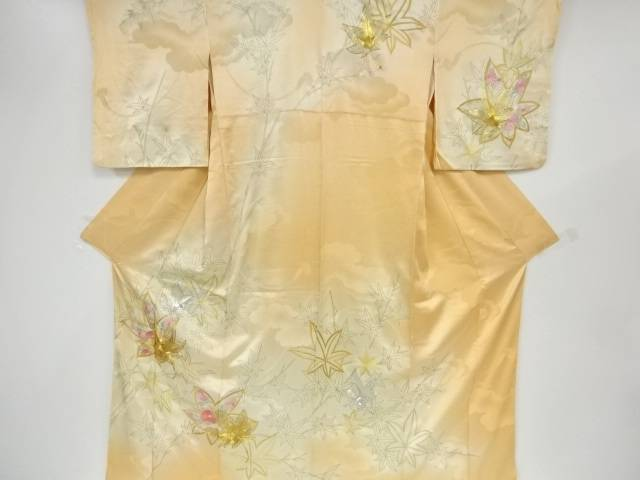 【IDnet】 楓に菊模様刺繍暈し訪問着【リサイクル】【中古】【着】