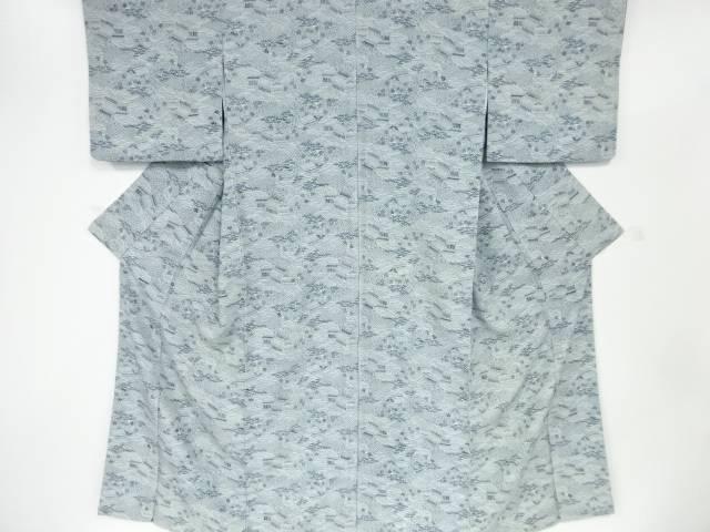 【IDnet】 本藍型染荒波に笹模様小紋着物【リサイクル】【中古】【着】